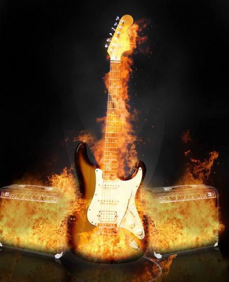 Poner llamas a una guitarra con Photoshop