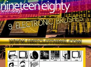 Pinceles de equipos electrónicos para Photoshop