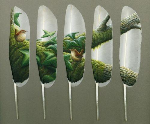 pintura pluma cisne