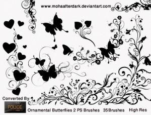 pinceles con mariposas
