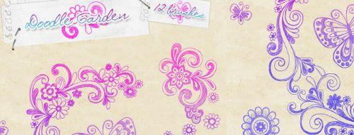mariposas y flores pinceles