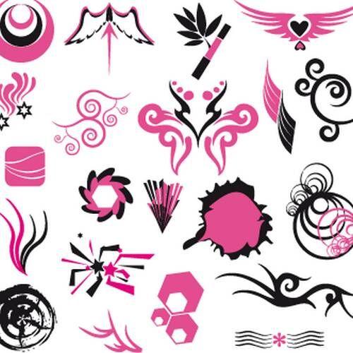 vectores negros rosa