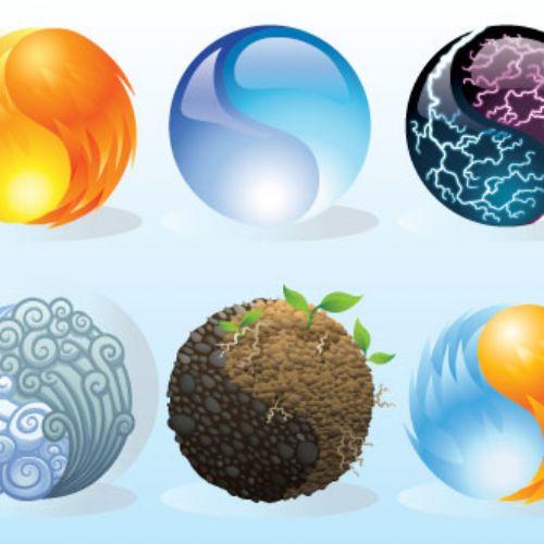 esferas naturales vectores