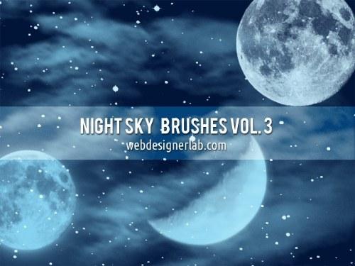 pinceles cielo noche luna