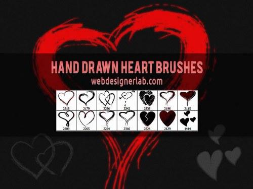 pinceles de corazones