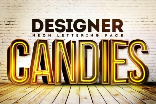 tipografia neon 3d