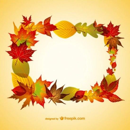 vector marco hojas otoño illustrator