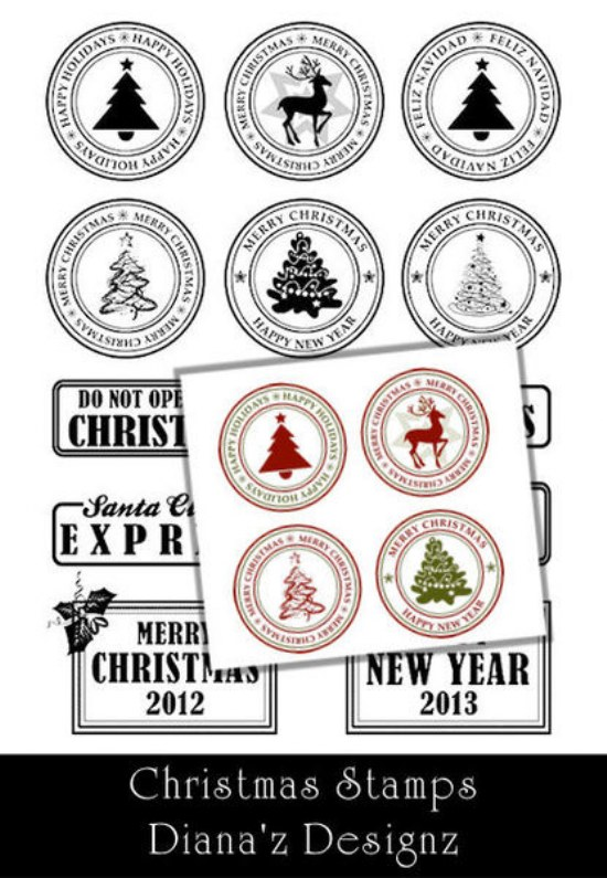 sellos estampillas navidad pinceles