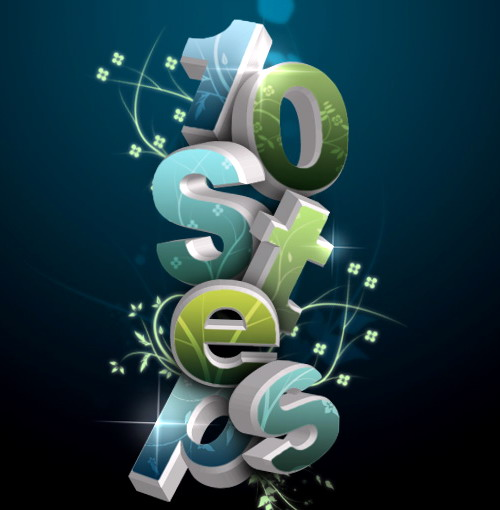 Texto floreado 3d con Photoshop