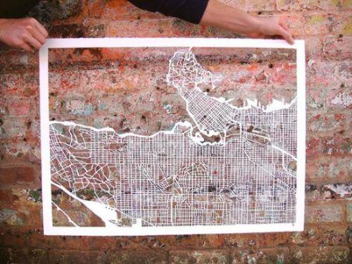 mapas cortados a mano
