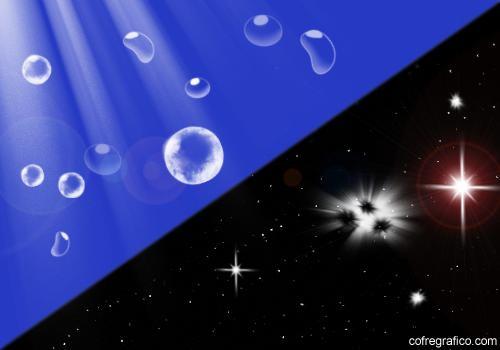pinceles estrellas agua