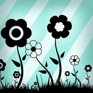 pinceles flores cesped
