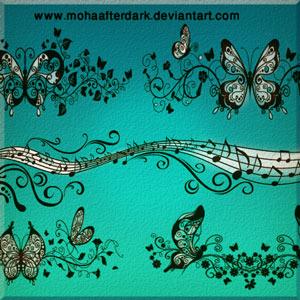 pinceles mariposas ornamentales