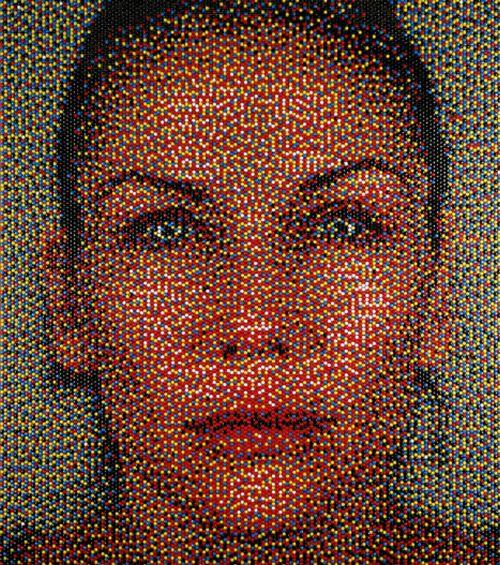 retratos chinchetas colores