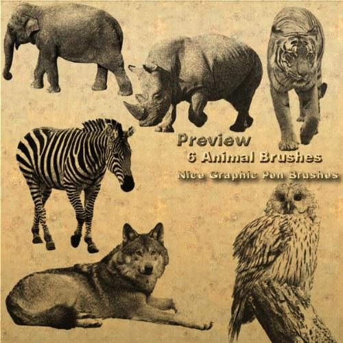 animales pinceles