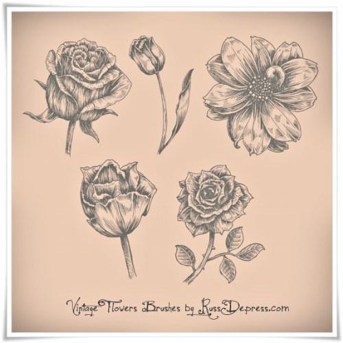 vintage pinceles flores