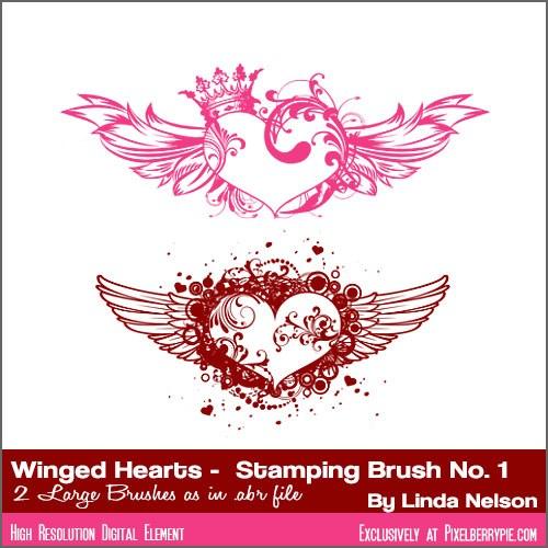 corazones alas pinceles