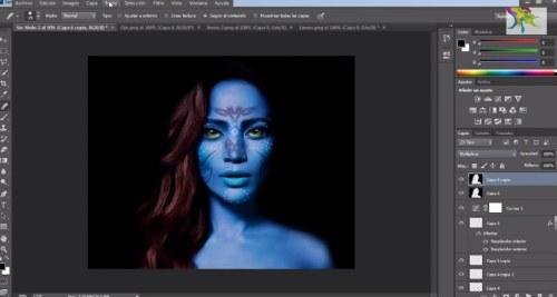 personaje avatar azul photoshop