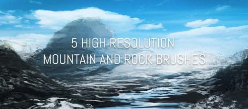 pinceles montañas rocas photoshop