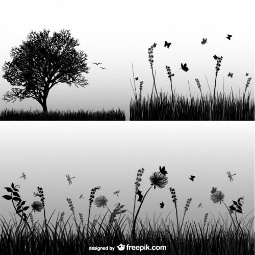 siluetas naturaleza illustrator vector gratis