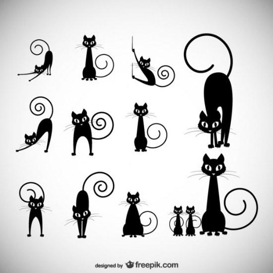vector siluetas de gato negro illustrator