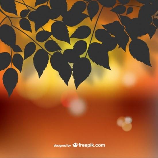 hojas otoño siluetas vector illustrator
