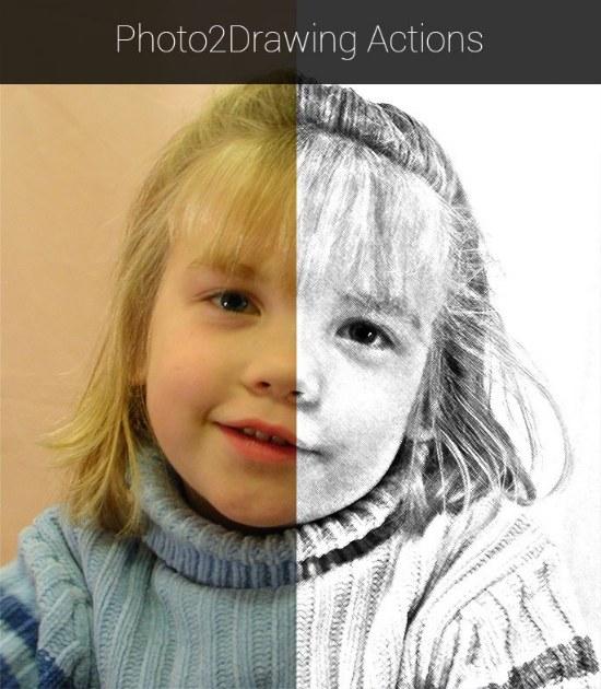 acciones dibujos sketch photoshop gratis