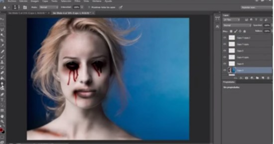lagrimas sangre efecto halloween tutorial photoshop
