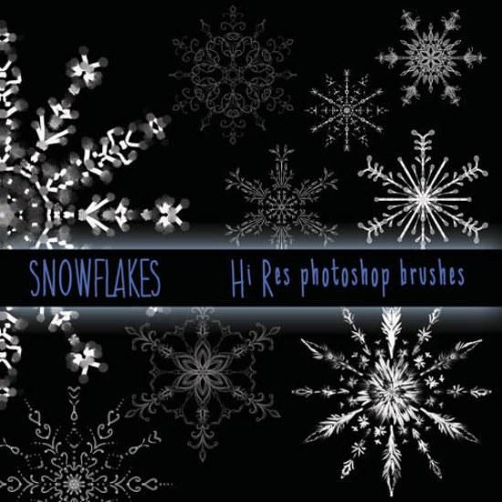 copos de nieve pinceles alta resolucion photoshop