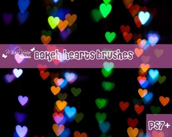corazones bokeh pinceles